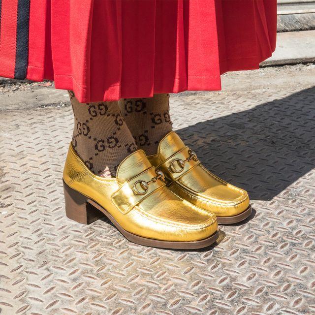 5d0db47932d Gold Gucci Heels with Gucci Logo Socks