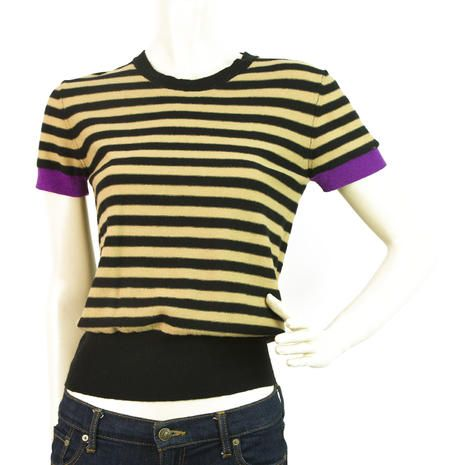 BNWT Sonia Rykiel Striped Black, Beige and Purple Twin Set Sz38