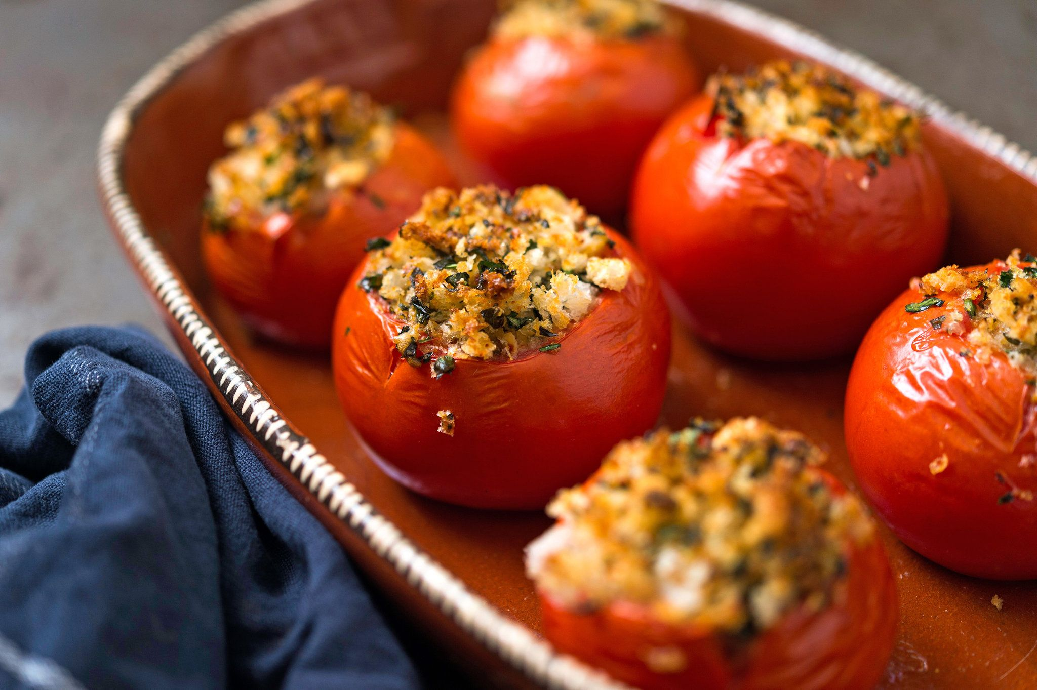 NYT Cooking: A simple mixture of bread crumbs and herbs is all you need to make these Proven�al baked stuffed tomatoes. Serve them with nearly any summer meal, even for breakfast alongside fried eggs.