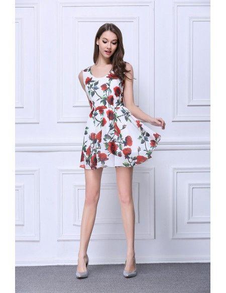 02a4d639a0f4 Summer Floral Printe A-Line Chiffon Short Wedding Guest Dress #DK323 ...