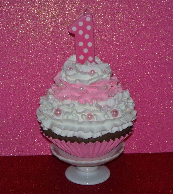 Jumbo Fake Cupcake Girls First 1st Birthday Photo Prop Number 1