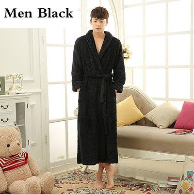 b46e861746 Lovers Extra Long Winter Thick Warm Bath Robe Men Silk Soft Flannel Bathrobe  Mens Dressing Gown Male Kimono Robes Man Bathrobes