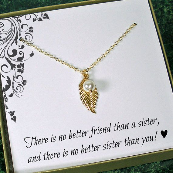 Sister Necklace Dainty Leaf Necklace Unique Sister Gift Sister