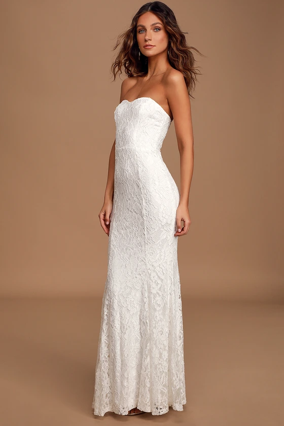 Always Be There White Lace Strapless Mermaid Maxi Dress In 2020 White Lace Maxi Dress Mermaid Dress Lace White Lace Maxi