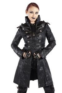 gothic steampunk coat im military look mit killerspikes. Black Bedroom Furniture Sets. Home Design Ideas