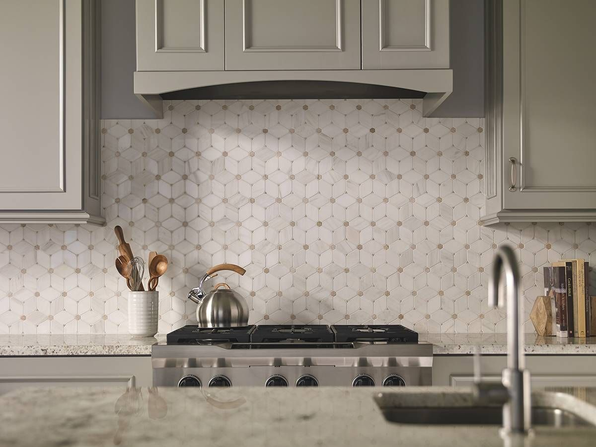 Another studio moderne standout the marquis octagon pattern from say goodbye to boring backsplash tile by choosing the elegant distinctive cecily pattern tile that features warm creamy beige marble tiles in a unique dailygadgetfo Gallery