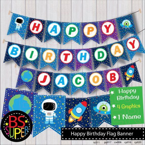 Outer Space Birthday Banner , Space Birthday Party Banner , Space