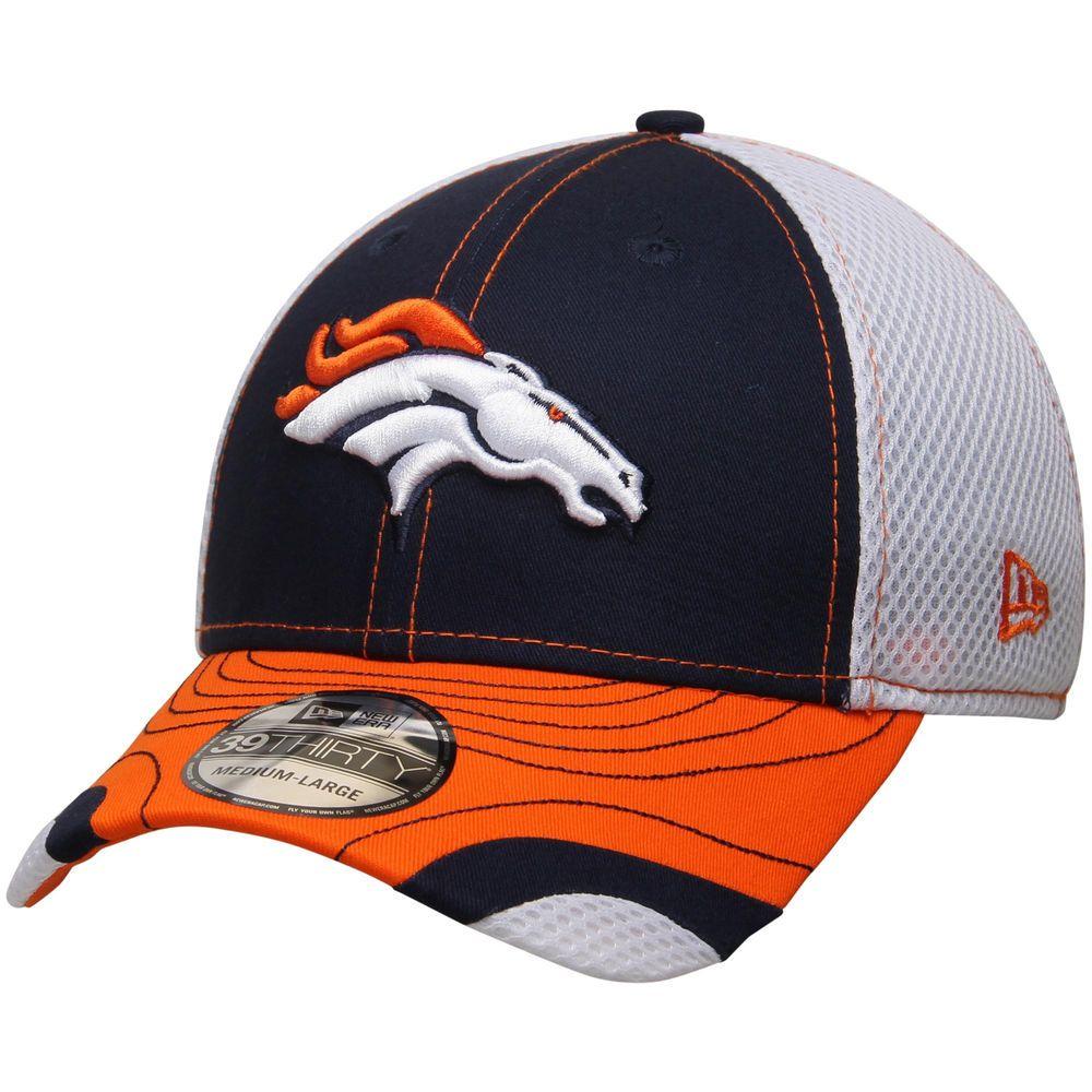 Men's New Era Navy/White Denver Broncos Tumbled Neo 39THIRTY Flex Hat