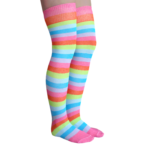 7c52501df33b9 Bright Rainbow Striped thigh high socks in neon pink, orange, neon green,  light blue, neon blue and lilac. Made in USA Chrissy's Socks 877-862-6267