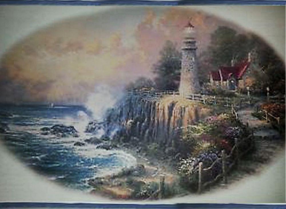 Thomas Kinkade Lighthouse Cottage Vignette 5 Yd Wallpaper Border Tk3202b M103 Imperial Thomas Kinkade Wallpaper Border Art