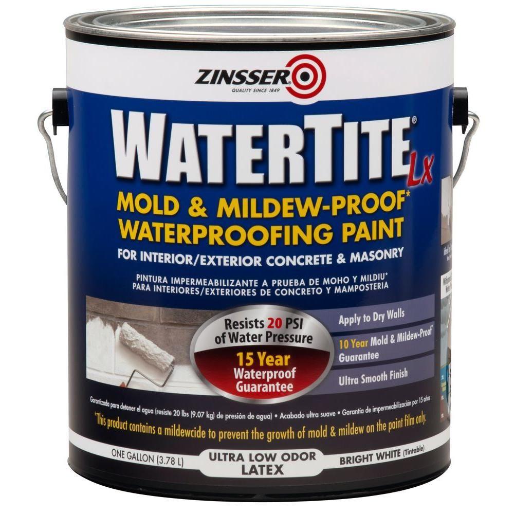 Zinsser 1 Gal Watertite Lx Low Voc Mold And Mildew Proof White Water Based Waterproofing Paint 2 Pack Waterproof Paint Mold Mildew Basement Remodeling