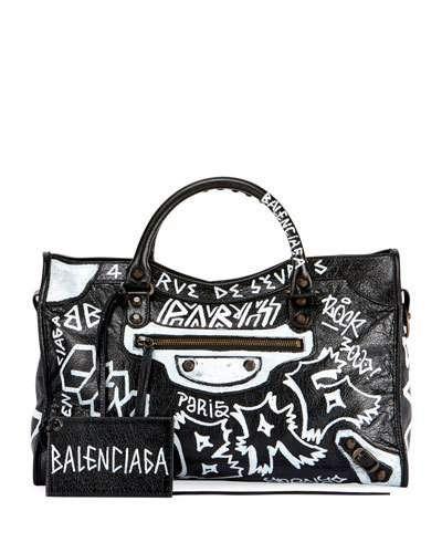 BALENCIAGA CLASSIC CITY AJ GRAFFITI-PRINT SATCHEL BAG.  balenciaga  bags  shoulder  bags  hand bags  leather  satchel   898279d3a14dd