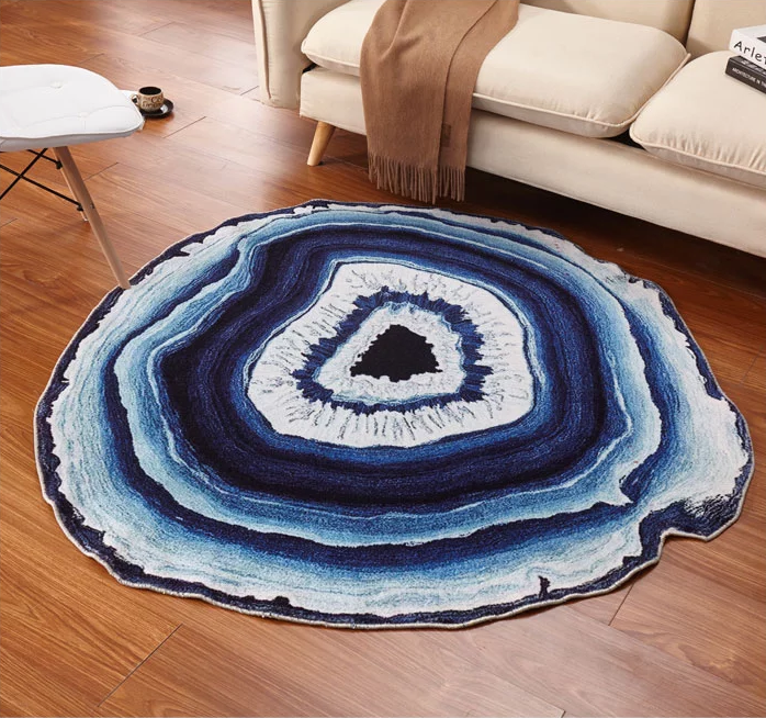 Blue Woven Crystal Cross Round Rug Decor Home Decor