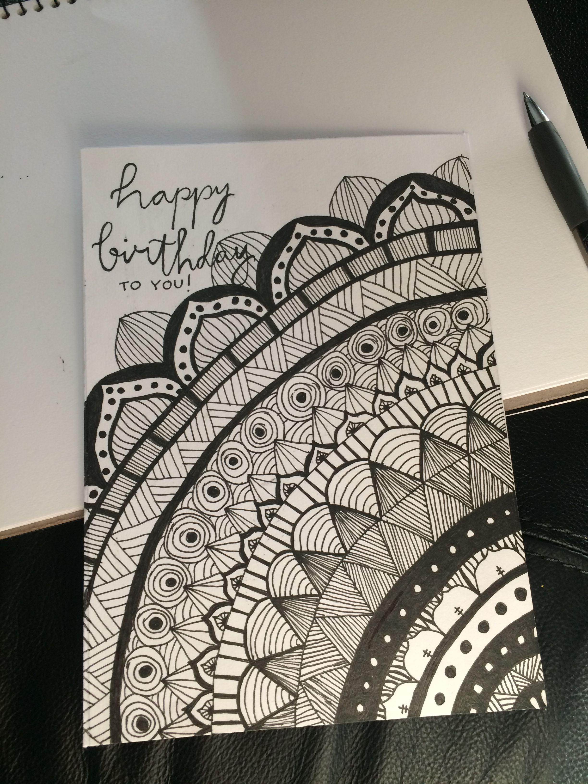 Mandala Birthday Card  Birthday card drawing, Birthday cards