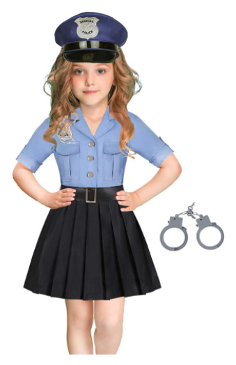 Kroy Police Officer Costume For Girls Halloween Cop Skirt Pretend Play Outfits 5 6x Girl Costumes Police Officer Halloween Costume Police Costume Kids