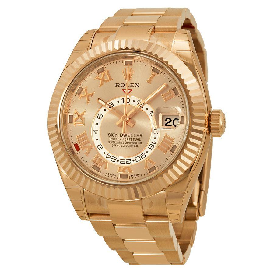 Rolex Sky Dweller Sundust Dial 18kt Everose Gold Men\'s Watch 326935 ...