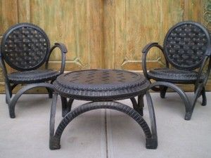 Balinese Furniture Recycled Rubber Tyre Table & 2 Chairs