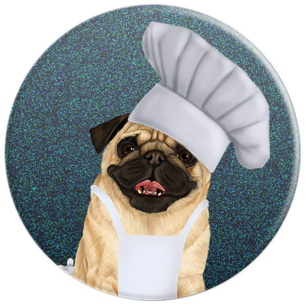 24471592655 Pug Chef - cute dog in a chef hat - PopSockets Grip and Stand for Phones