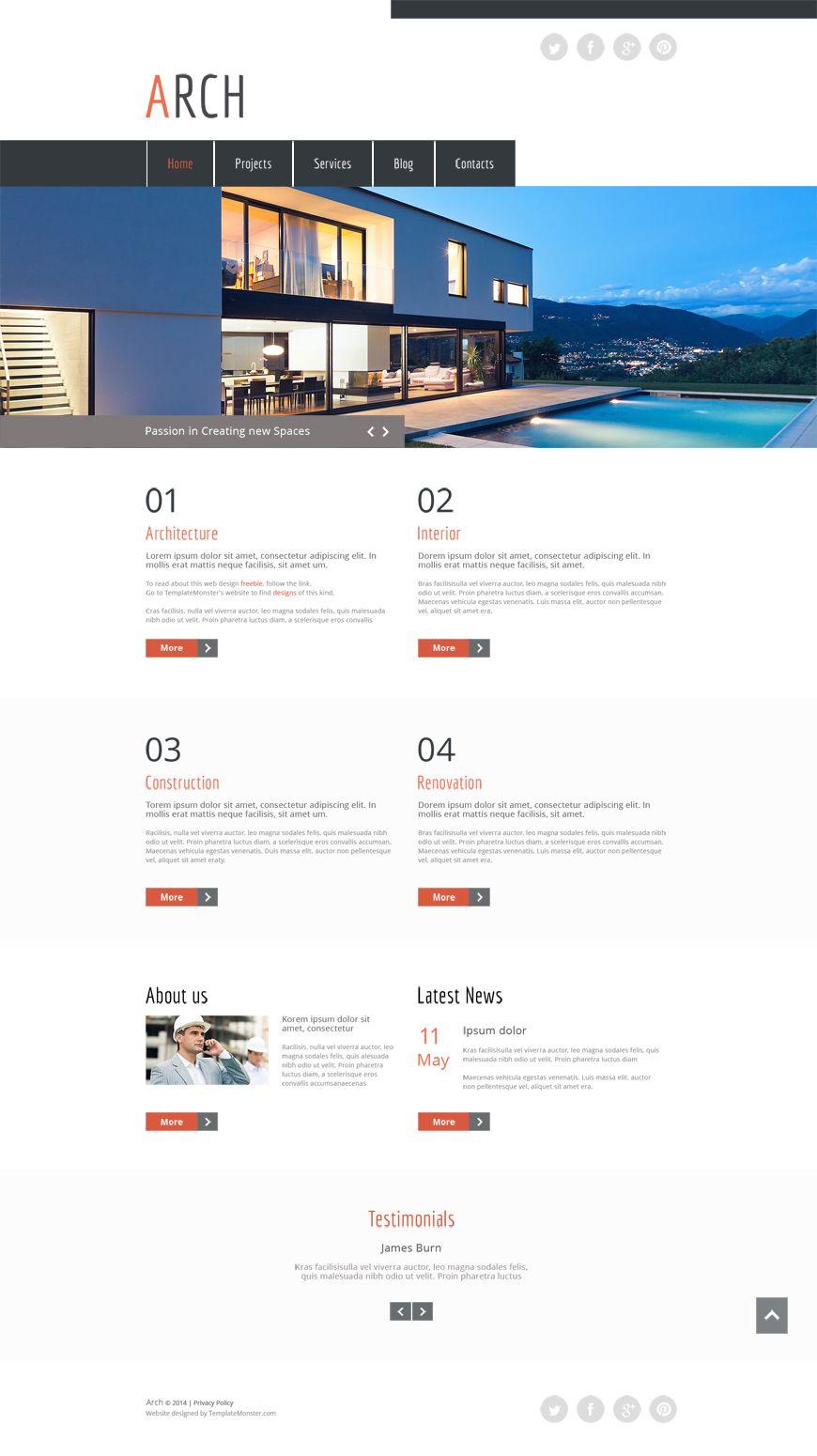 Voll im Trend: Kostenloses HTML5 Theme für eine Architektur Seite ...