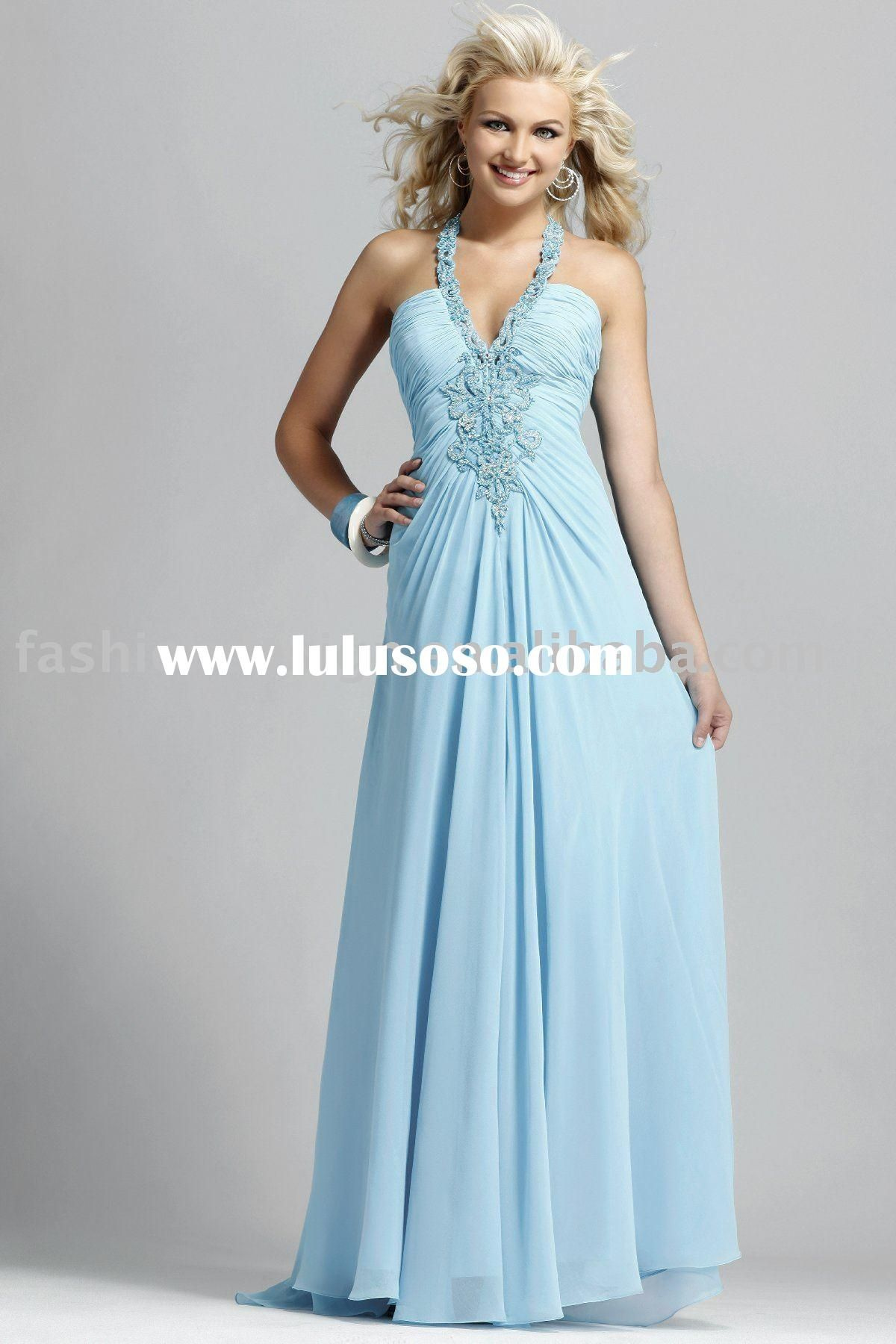 Sky Blue Bridesmaid Dresses | ... shiny fabric evening gowns Party ...