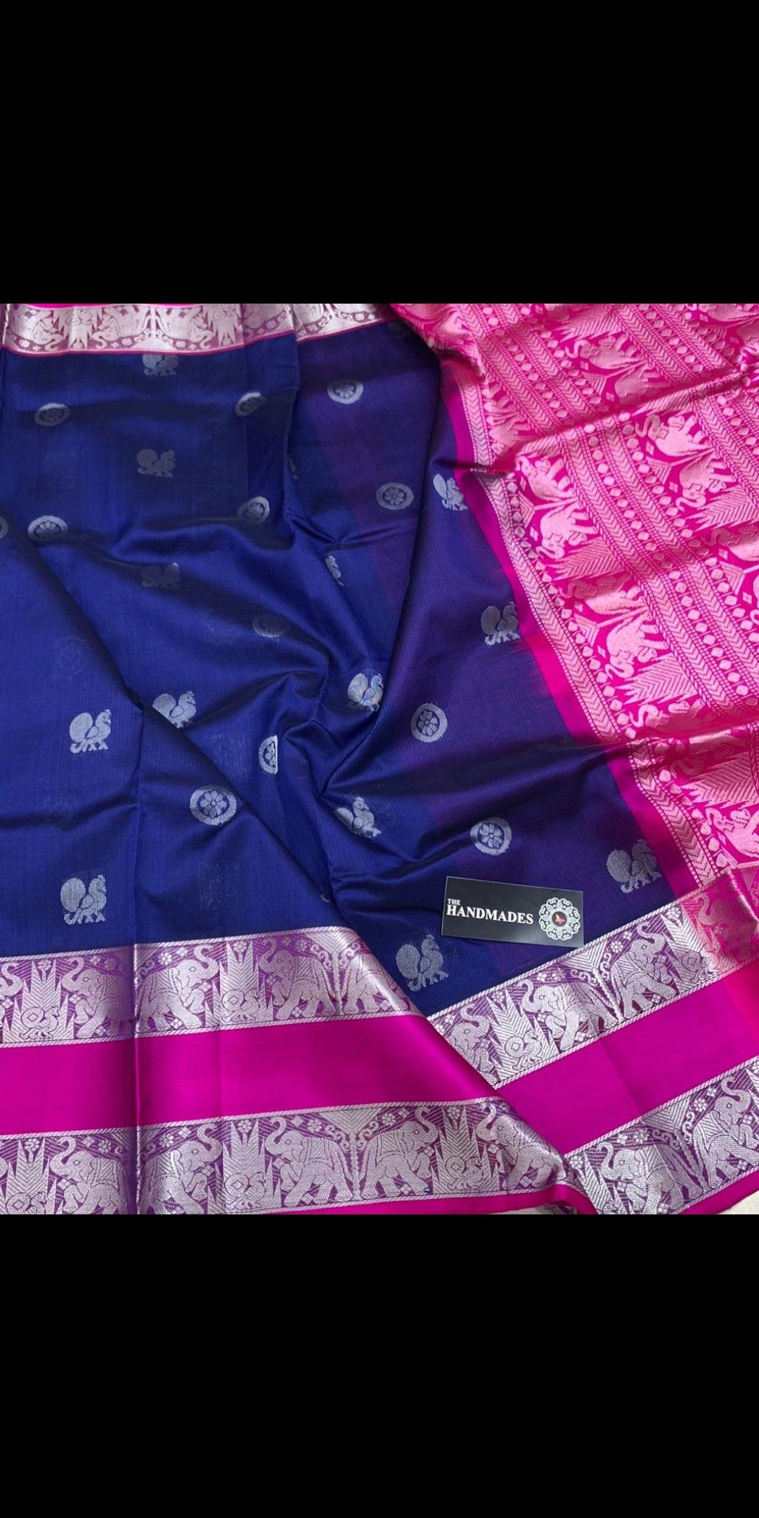 b5473411e5832 Latest Kuppadam Silk Sarees with Silver gold Jari Borders   Buttas    Contrast Rich Pallu   Contrast Plain Blouse   Price - 7600+⛵