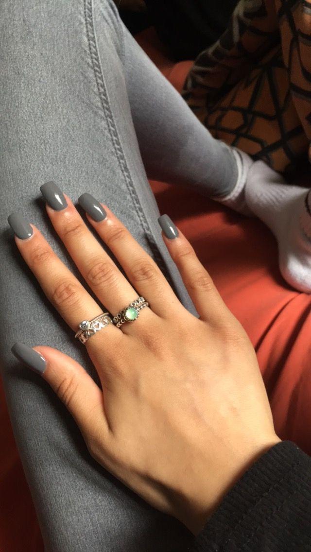 Grey Acrylic Square Shape Long Square Nails Nail Shapes Square Tapered Square Nails