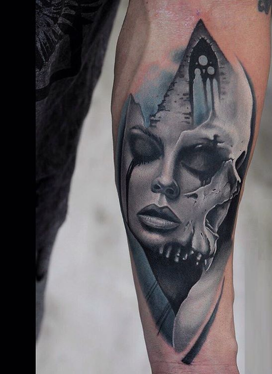 4d3d1d684 85 Scary Skull Tattoo Designs To Ink -. Wicked #Skull #Tattoos and its  Symbolic Skull Meanings for #Tattoo Ideas realism