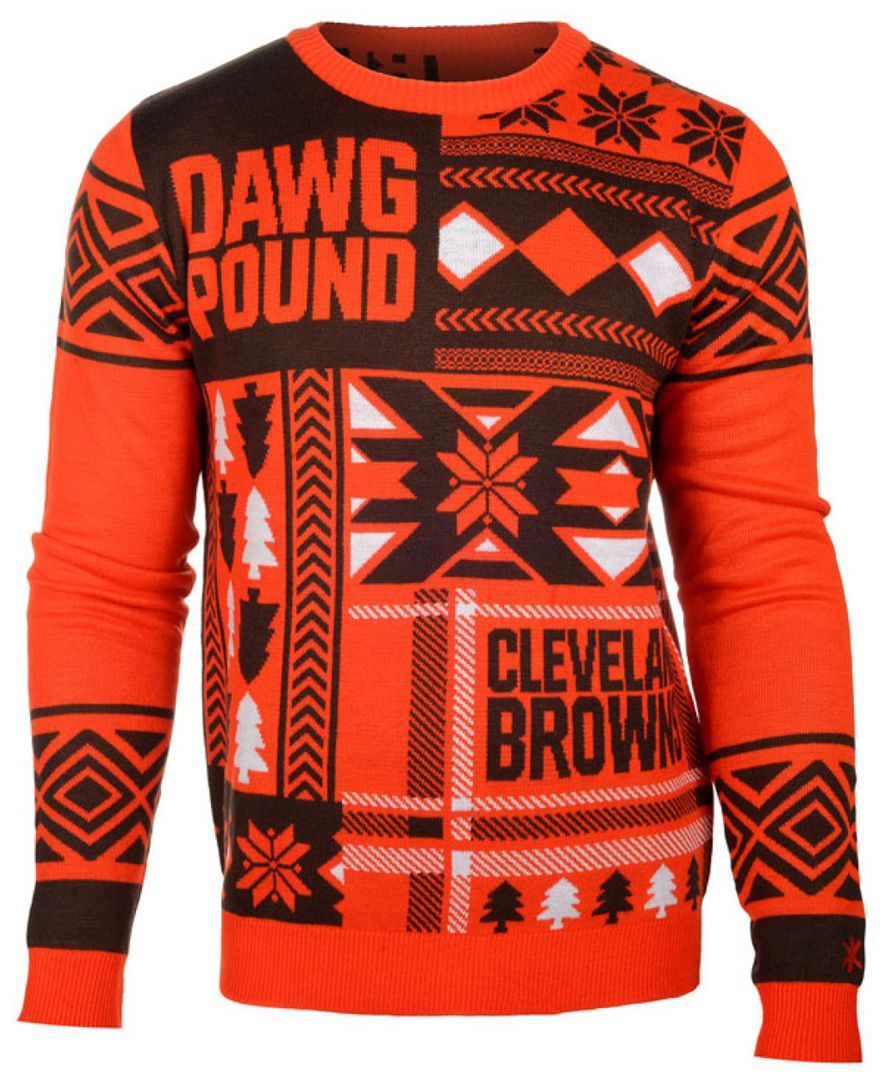 38211a30 Forever Collectibles Men's Cleveland Browns Patches Christmas Sweater