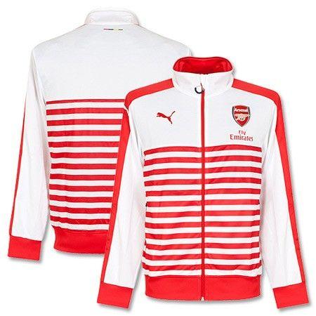 Chaqueta T7 del Arsenal 2015 Anthem Jacket - Con Patrocinador - Rojo/Blanco