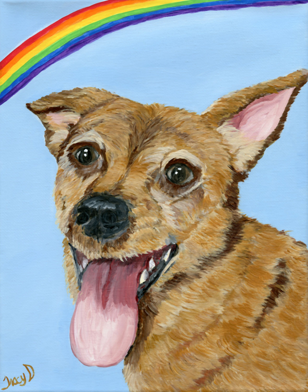 pet loss of pet memorial rainbow bridge custom pet portrait dog heaven pet sympathy memorialize my dog remember my dog pet painting cat loss by MoonbeamsBearDreams on Etsy