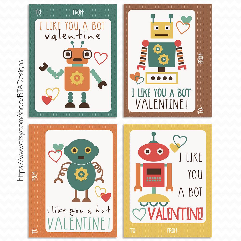 Printable Robot Valentine Cards By Btadesigns On Etsy Https Www
