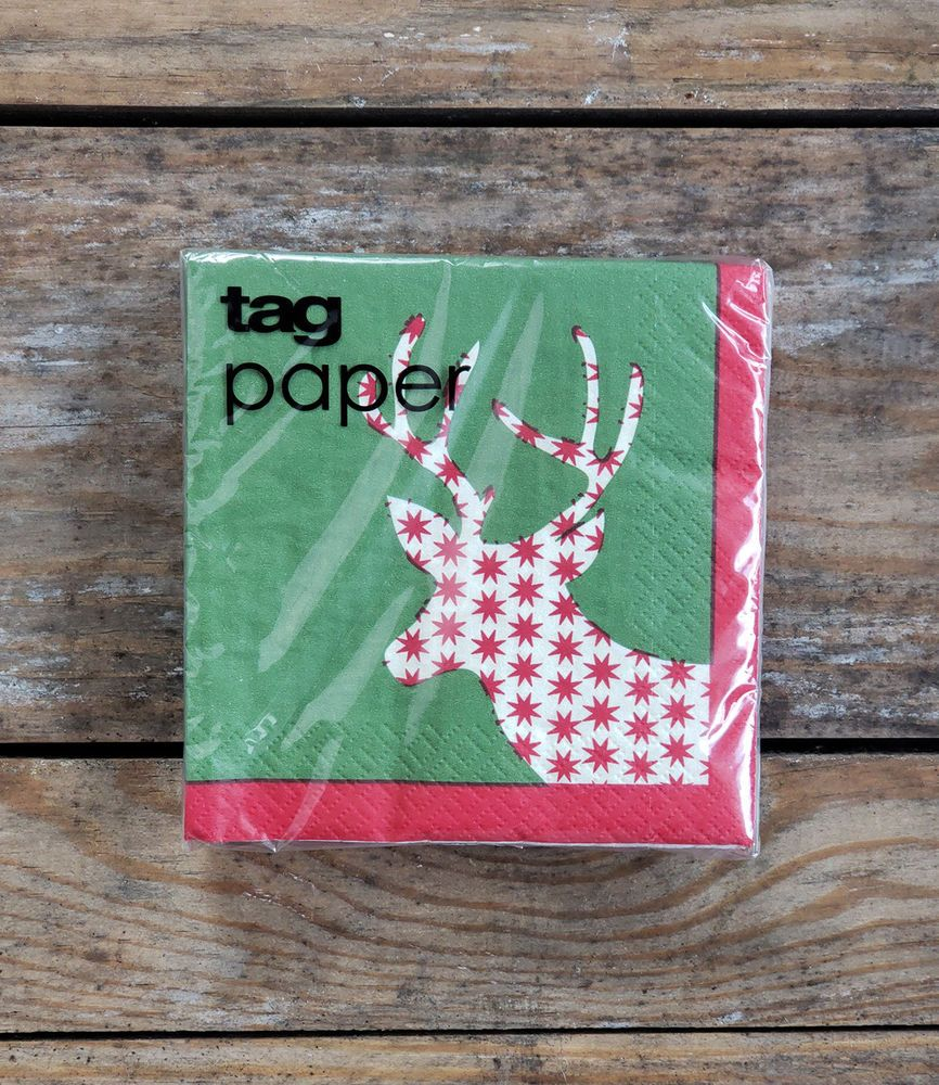 Paper Beverage Napkins Tag Ltd Woodland Reindeer Christmas Party