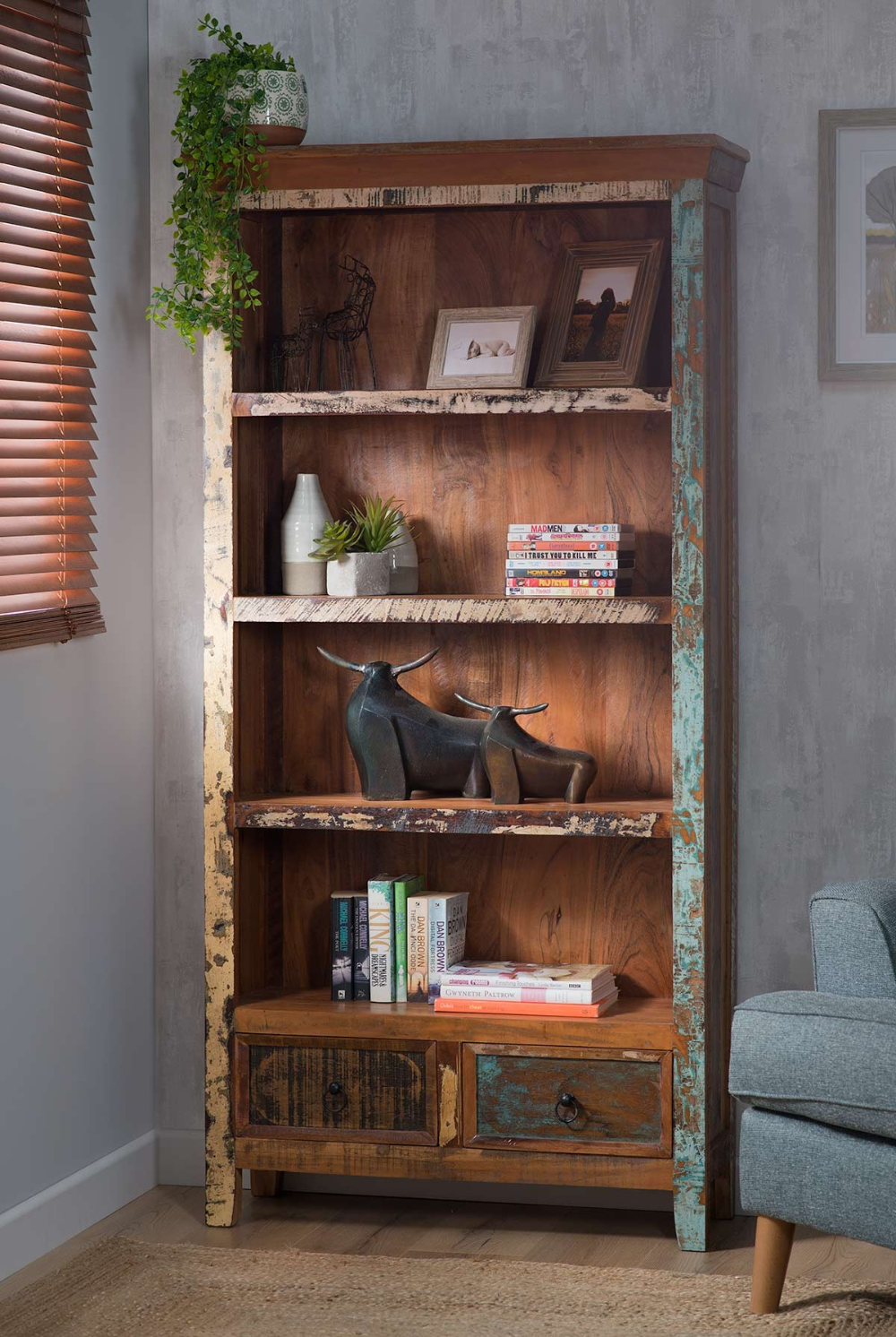 Reclaimed Indian Tall Bookcase Bookcase Large Bookcase Low Bookcase