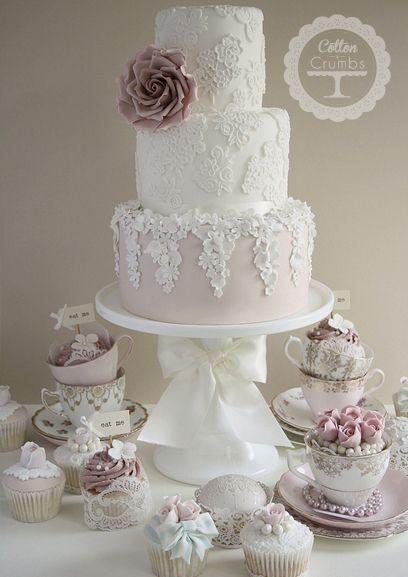 vintage wedding cake with pastel sugar flowers WEDDING CAKES