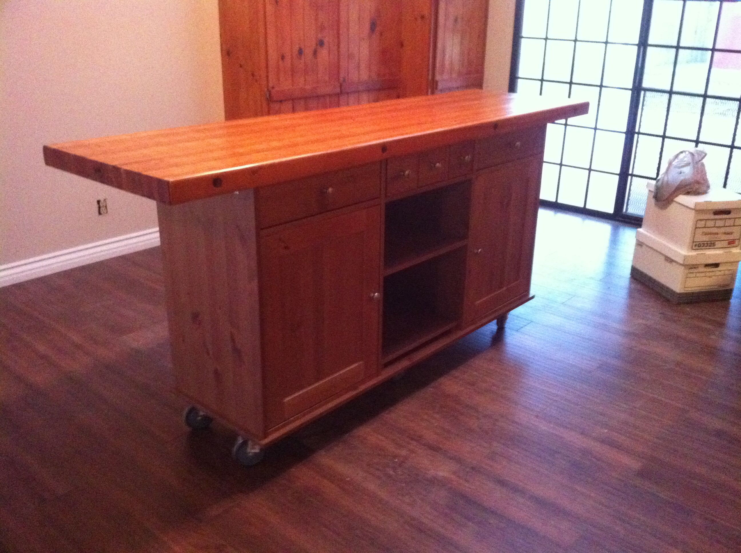 ikea hack rolling island made from a buffet base cabinet personal pinterest rolling. Black Bedroom Furniture Sets. Home Design Ideas