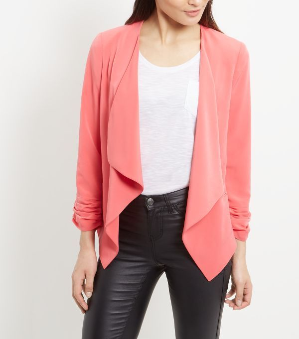 Coral Crepe Waterfall Blazer | Crêpes, Blazers and Coats