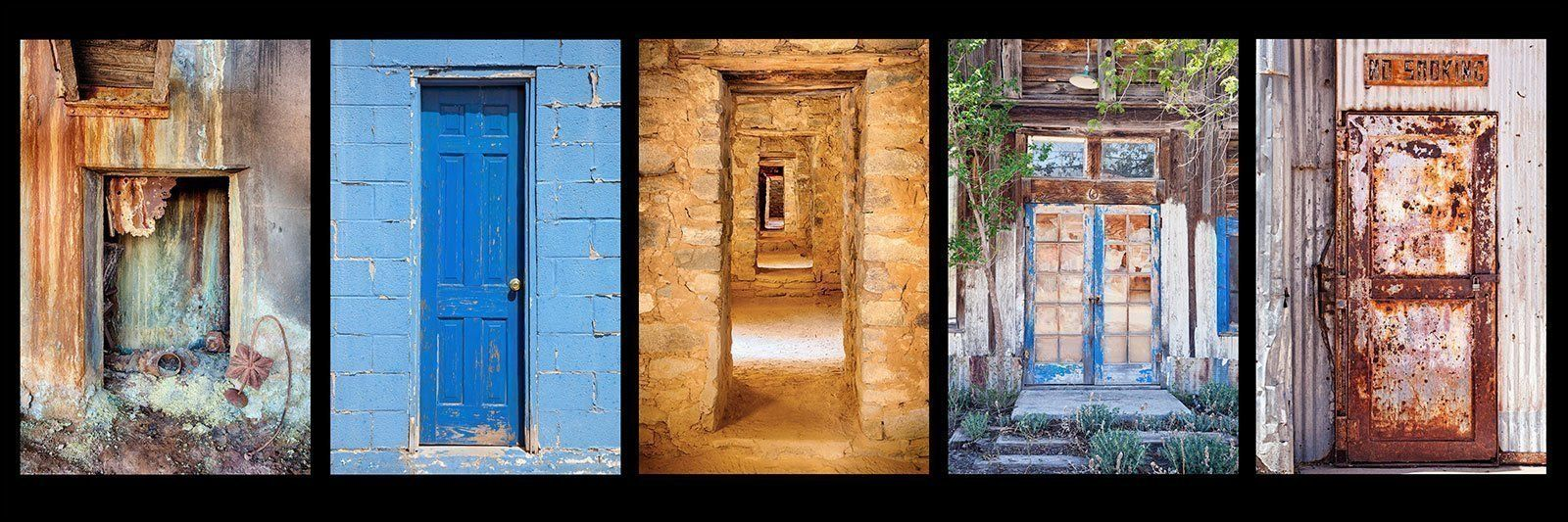 Panoramic photograph of a group of colorful southwest doors large