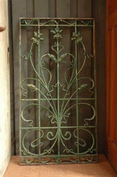 Antique French Iron Gate With Green Patina Sold Iron