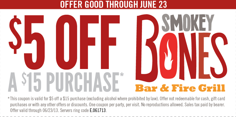 graphic relating to Smokey Bones Coupons Printable referred to as $5 off $15 Smokey Bones Printable Coupon Printable Coupon codes