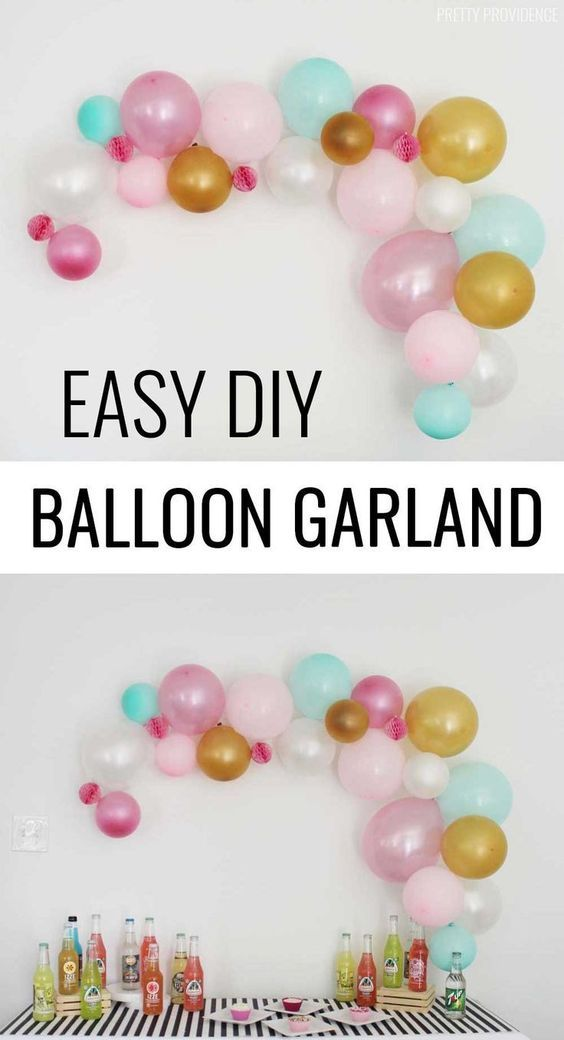 DIY Balloon Garland - Diy party garland, Diy party decorations, Balloon diy, Diy birthday, Birthday party decorations, Party balloons - DIY Balloon Garland for a party! Easier to make than you think!
