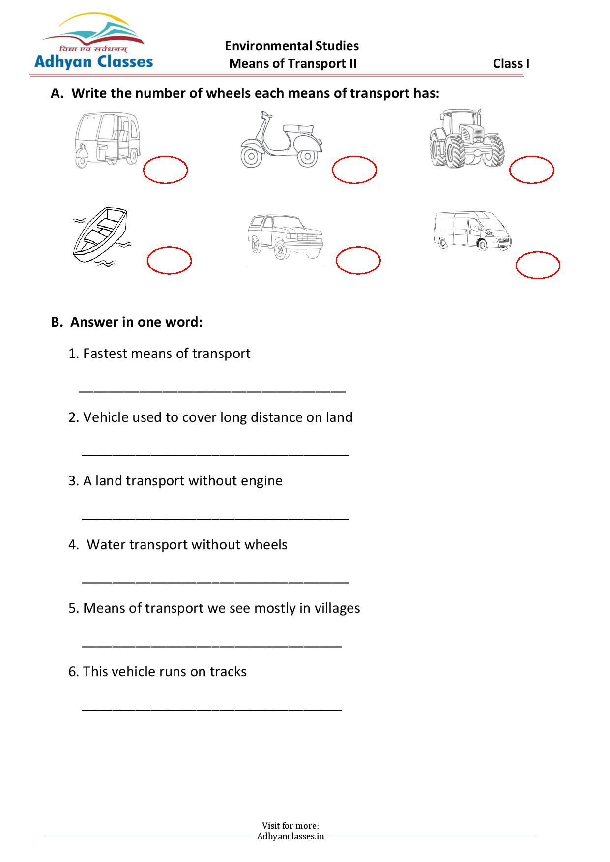 Means of Transport Worksheet for Grade II   First grade math worksheets [ 1753 x 1241 Pixel ]