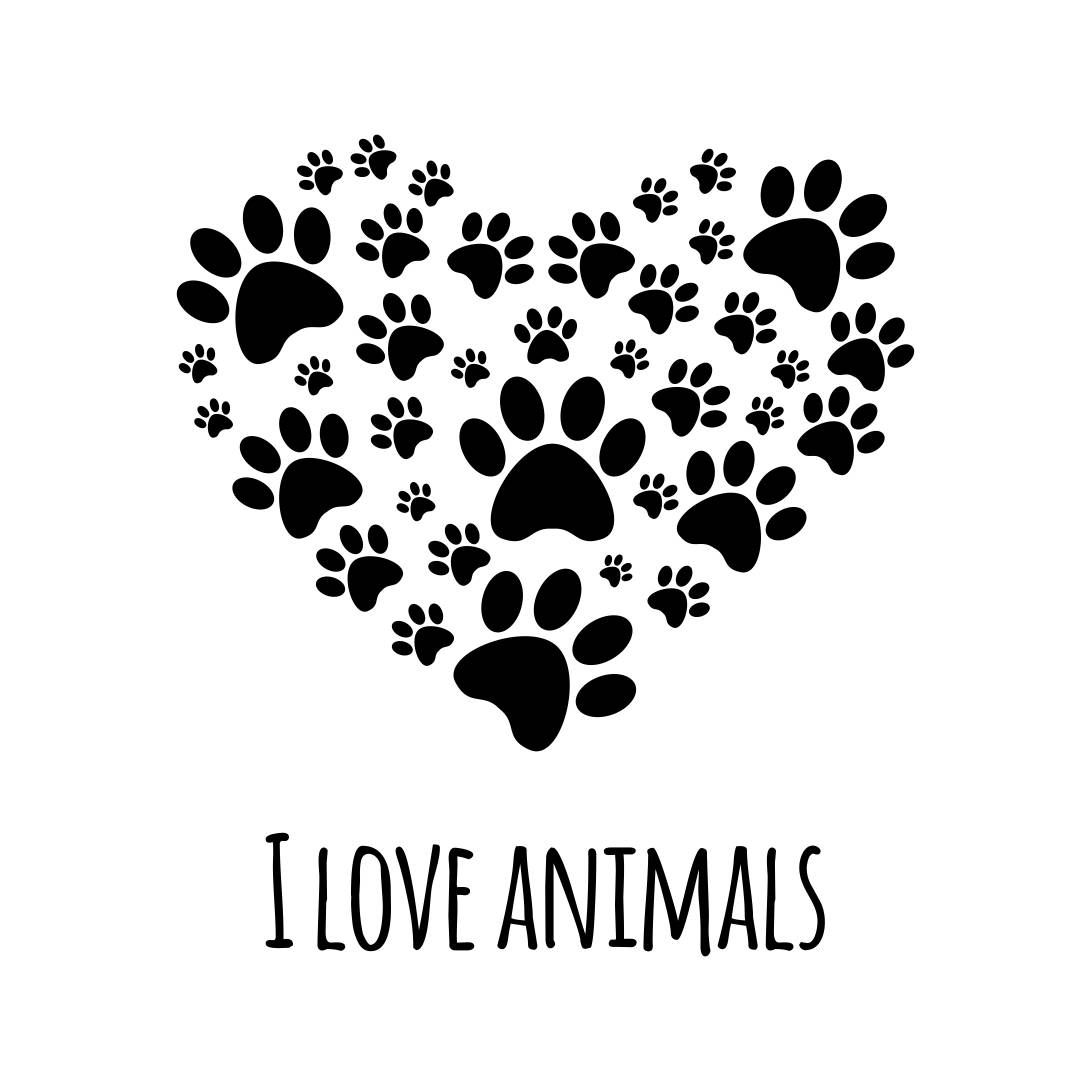 Download I Love animals paw heart Graphics SVG Dxf EPS Png Cdr Ai ...