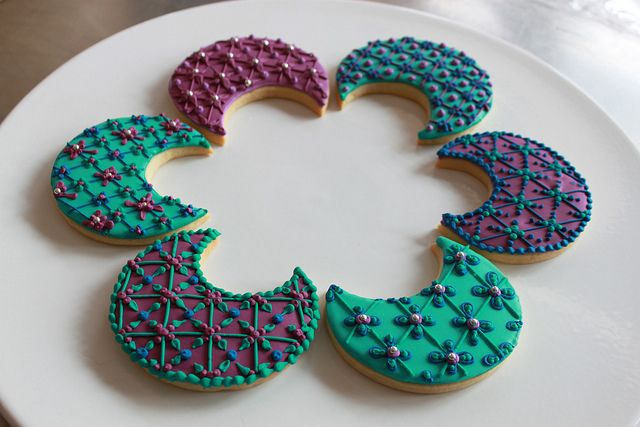 Moroccan-patterned crescent moon cookies