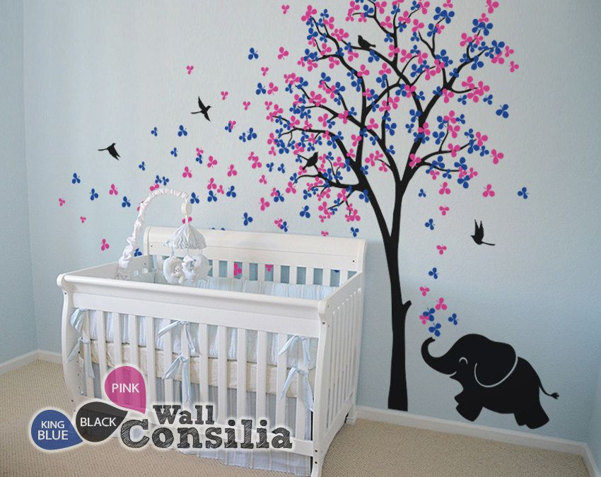 baby nursery wall decals tree wall decal elephant decal decor tree wall mural sticker. Black Bedroom Furniture Sets. Home Design Ideas