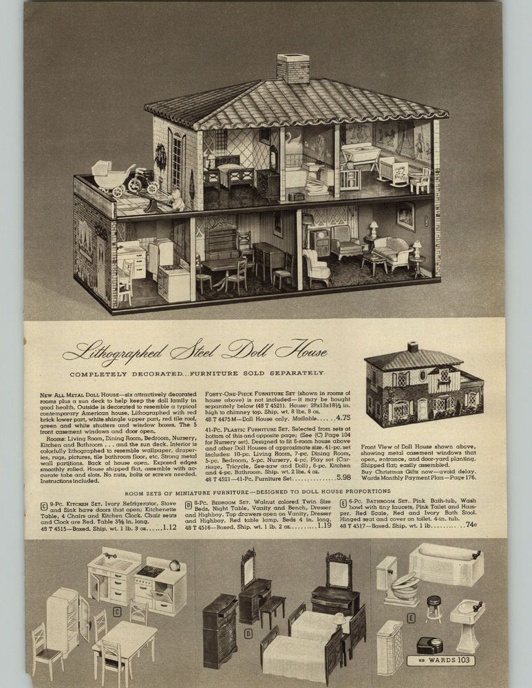 Great Advertisements From A 1948 Montgomery Ward Catalog Pages Are Mostly Good Condition You Are Buying A Paper Adver Vintage Dollhouse Doll House Lithograph