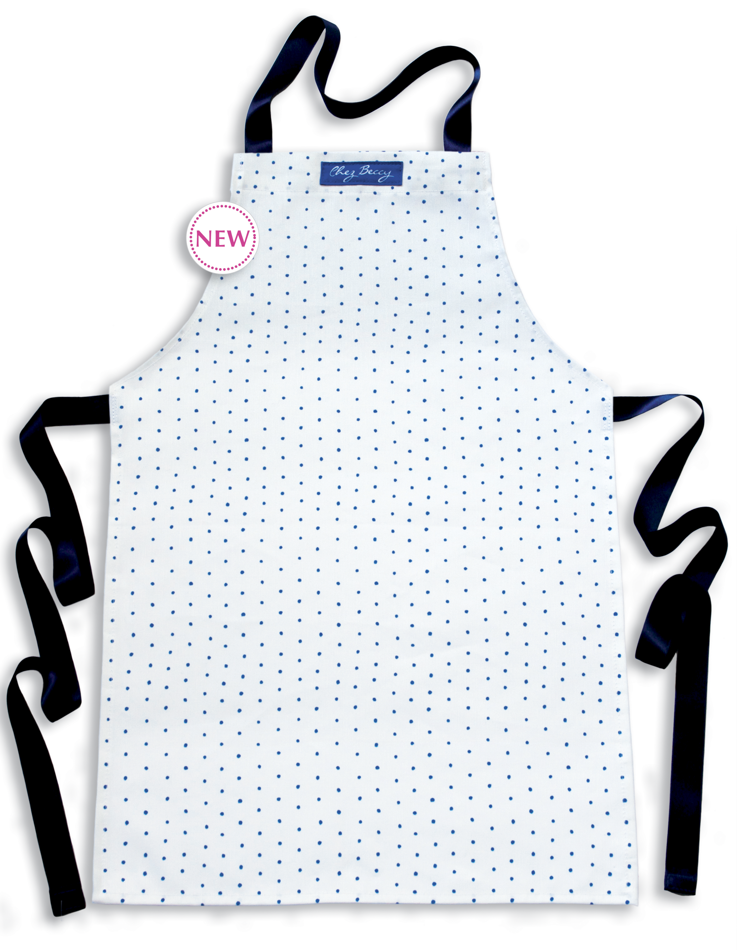 NEW- Blue& White Polka Dot Children's Apron, Ages 7-11 £13 This delightful apron will keep your childs clothes clean and protected while they create delicious treats for you in the kitchen!The fabric design is beautifully hand painted and digitally printed using environmentally friendly water based inks.  ChezBeccy.folksy.com