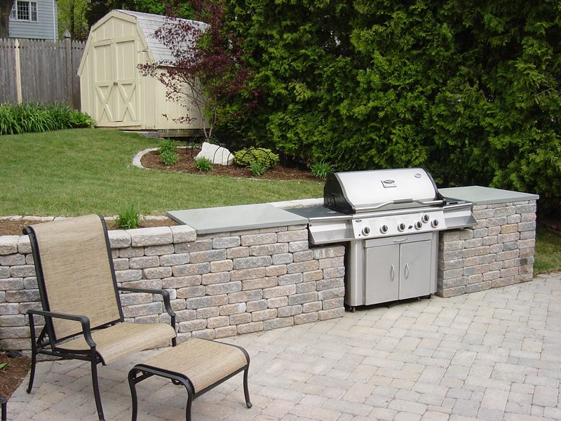 Outdoor Kitchen Built in free standing grill clarkelandscapescom