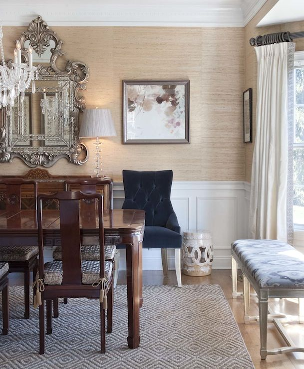 Dining Room Wallpaper With Chair Rail Chic, Elegant Dining Room With Sand Grasscloth Covered