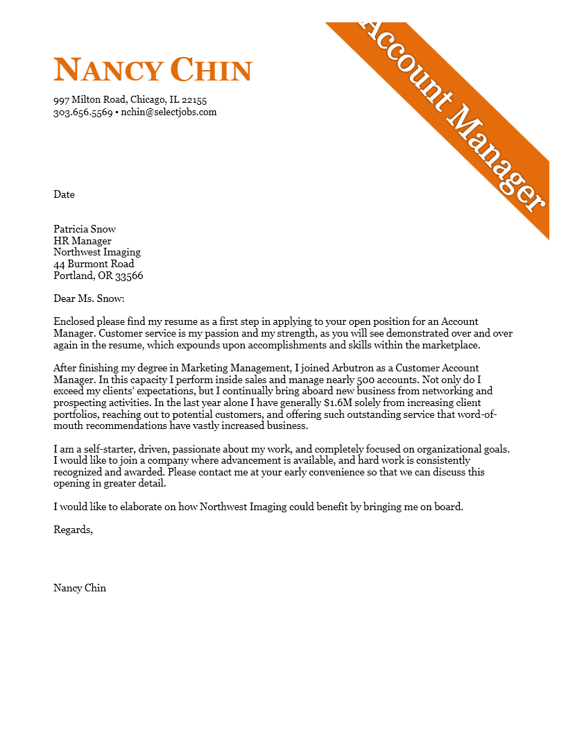 Cover Letter Example for an Account Manager Example  Cover Letter Tips  Examples  Cover