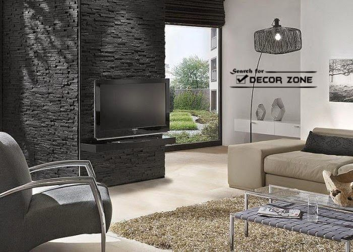 Stone Wall Panels For Living Room Black And White Living Room Stone Walls Interior Entertainment Room Decor #stone #wall #living #room #ideas